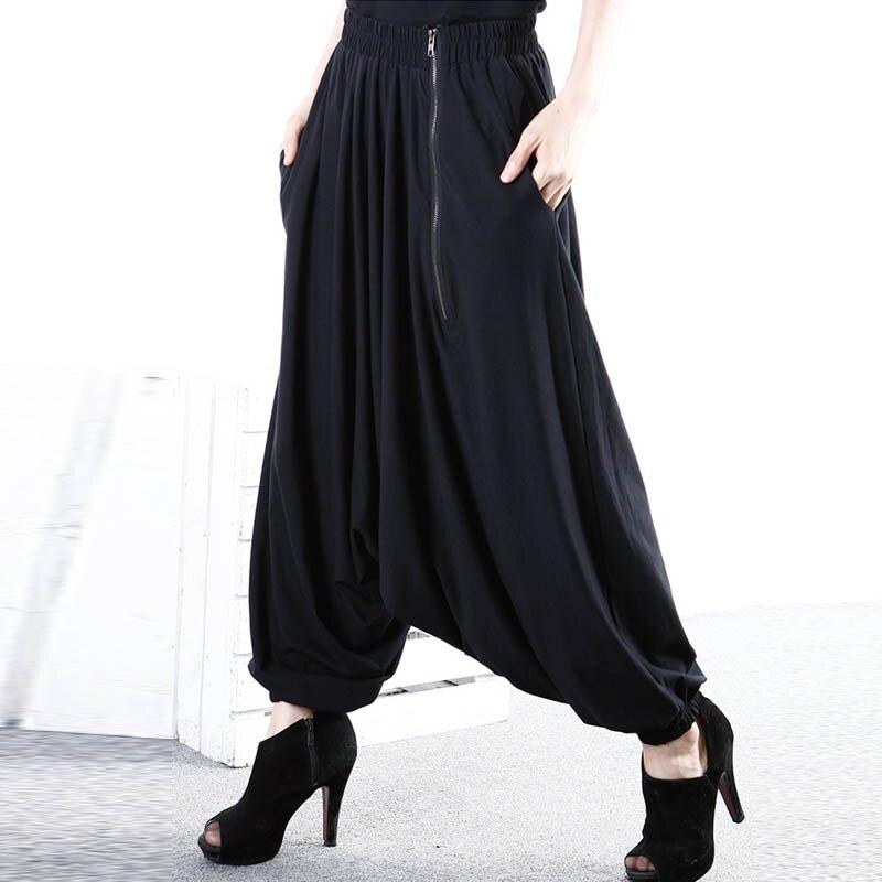 ZANZEA 2019 Fashion Women Elastic Zipper Pockets Loose Harlan Pants Retro Baggy Drop-Crotch Trousers Plus Long Wide Leg Pants