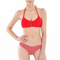 2017 Bikinis Women Swimwear High Neck Swimsuit Red Sexy Swimwear Push Up Crop Top High Neck