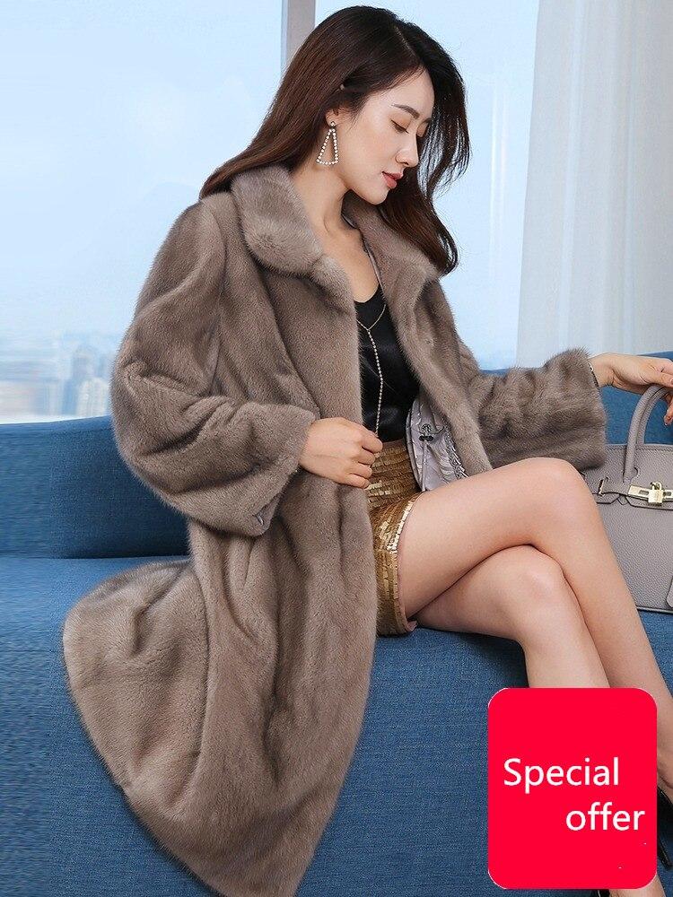 2019 nuova pelliccia di visone cappotto delle donne globale a lungo giacca cappotto reale del visone del cappotto di pelliccia grande collo di pelliccia all'aperto caldo furry manica lunga discoun