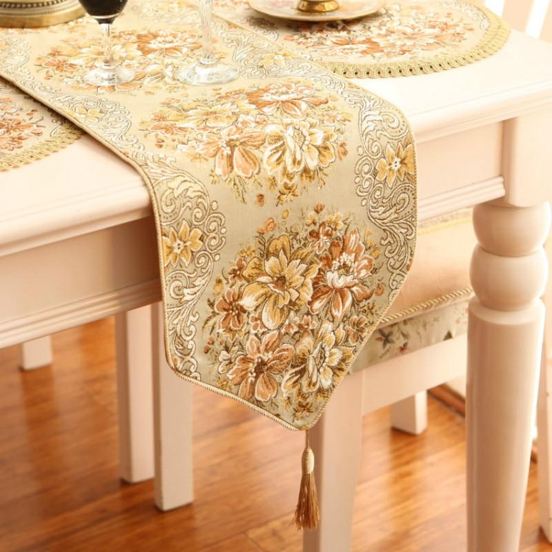European Style Table Runner Luxurious Camino De Mesa Gold Silk Embroidery Cloth Runner Dining Room Table Flag Chemin De Table