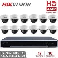 NVR и 12 Камера наборы для наружного видеонаблюдения Hikvision DS-7616NI-K2/16 P английская версия встроенный Plug & Play 4 K сетевой видеорегистратор POE H.265, 2 SATA...
