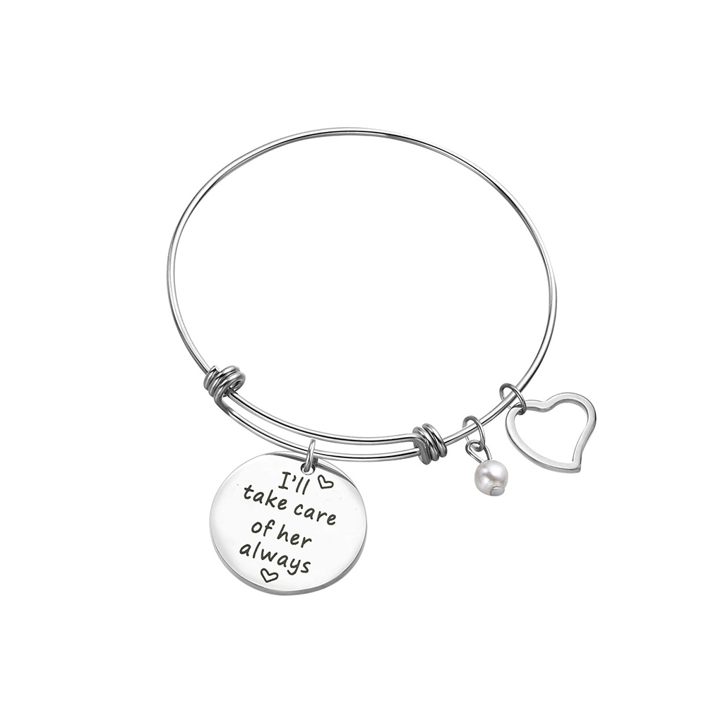 Mother In Law Gift Ill Take Care Of Her Always Massage Charm Bangle Bracelet For Wedding DayMothers Day And Birthday