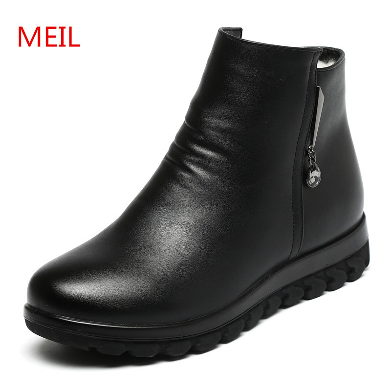 цена на MEIL 2018 new shoes woman winter thick wool lined genuine Leather women snow boots warm winter boots ankle boots for women