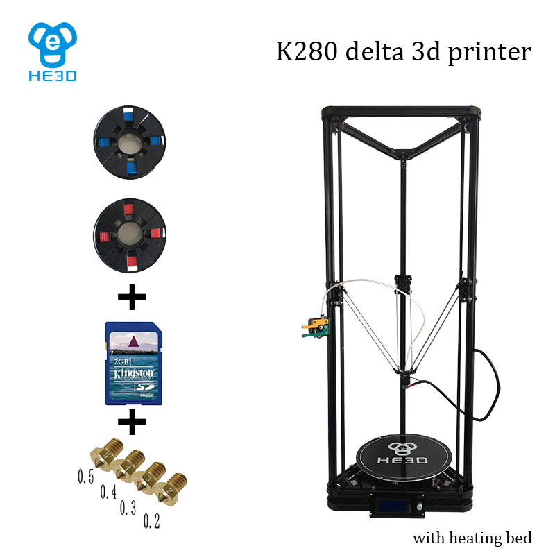 High precision auto leveling large printing size reprap delta diy 3d printer kit K280 , with heat bed support muti materials original anycubic 3d pinter kit kossel pulley heat power big size 3d printing metal printer fast shipping from moscow