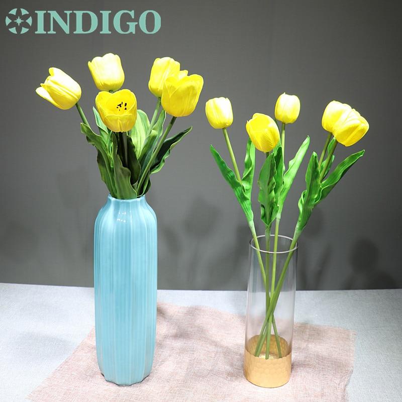 INDIGO - 5PCS/Lot Holland PU Yellow Tulip Decorative Artificial Flower Wedding Flower Home Hotel Party Event Decoration-2