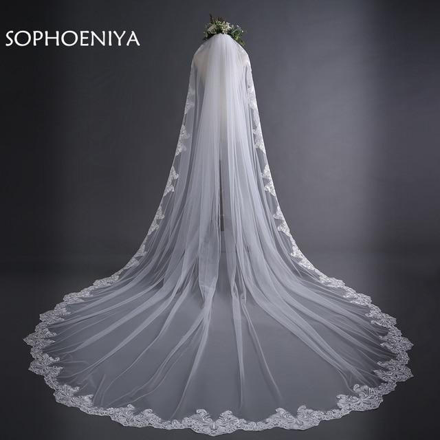 online store 48b20 65bd7 Neueste Elfenbein Kathedrale Hochzeit Schleier Lange Spitze Rand Braut mit  Kamm Zubehör Mantilla