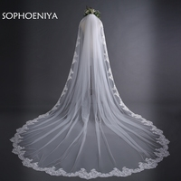 Newest Ivory Cathedral Wedding Veils Long Lace Edge Bridal Veil with Comb Wedding Accessories Bride Mantilla Wedding Veil