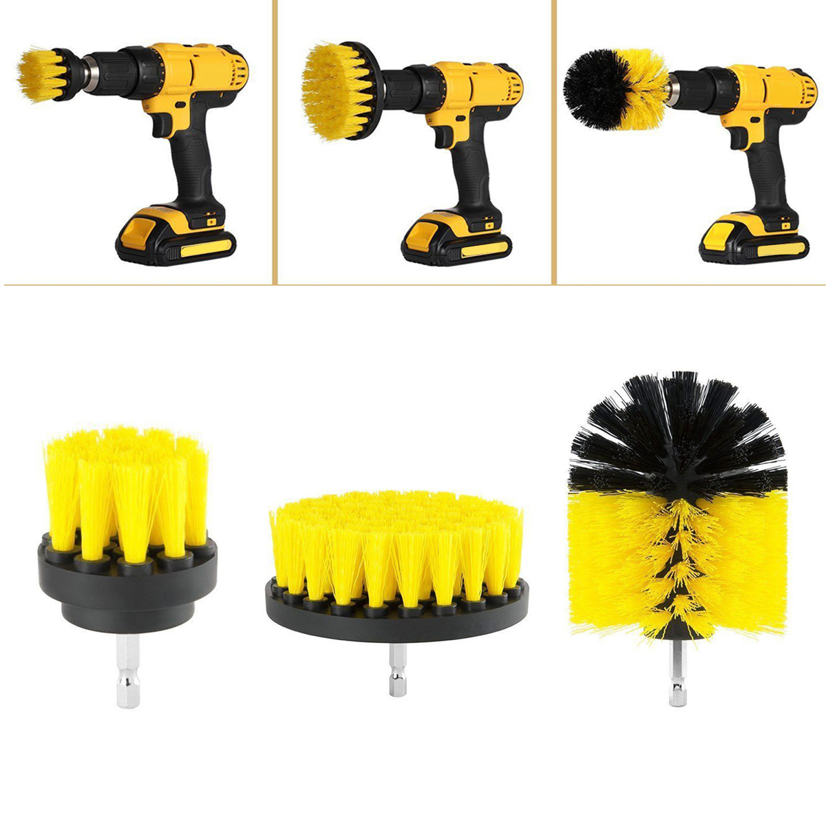 3pcs Eletric Drill Brush Tile Grout Power Scrubber Cleaning Tub Cleaner Combo Tool For Power Tools