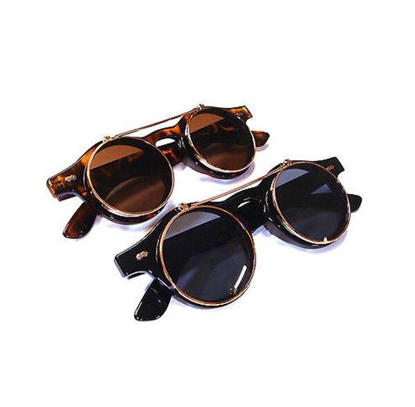 Newest Arrivals Steampunk Goth Goggles Glasses Men Women Retro Flip Up Round Sunglasses Vintage Black