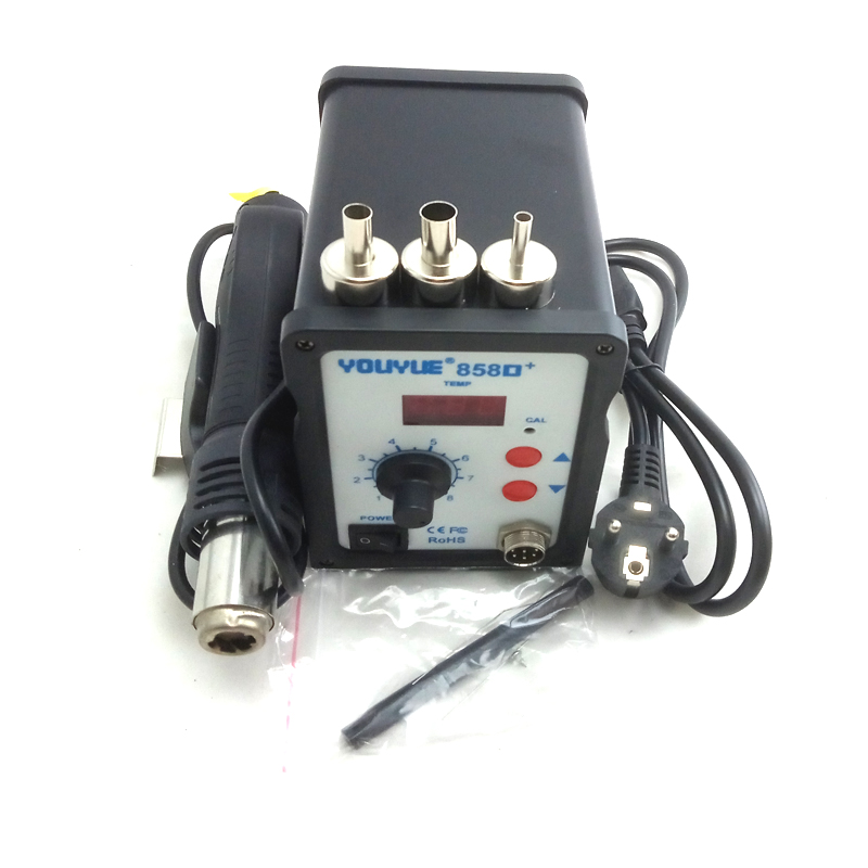 858D+ ESD Soldering Station Hot air rework station LED Digital Hot Air Gun 220V 700W + 3 Nozzle better than AT858D saike 8586D saike 8586d 2 in 1 hot air soldering station desoldering smd rework station hot gun soldering iron 220v 700w