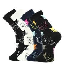 2018 new tide socks personalized cat cheap comic smiley cotton casual tube socks cute simple fashion