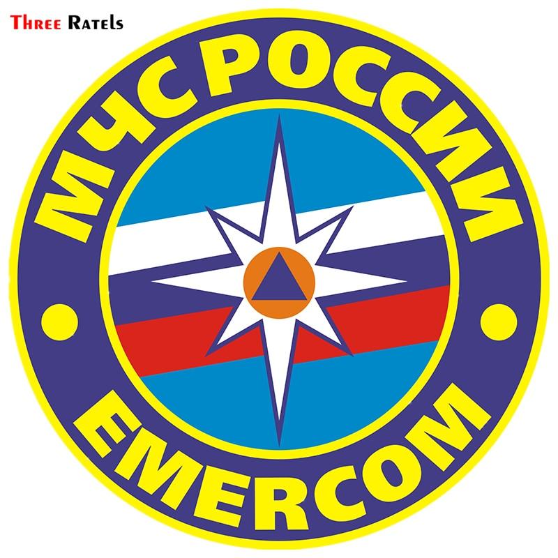 Three Ratels TRL180# 15x15cm Funny Car Stickers MCHS Of RUSSIA EMERCOM Car Sticker Funny Car Stickers And Decals