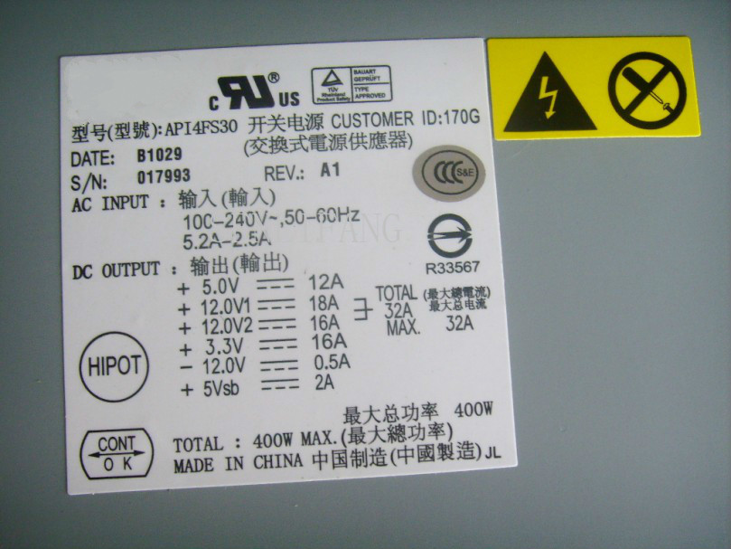 Free Shipping 100% Test For Power Supply For API4FS30 400W 1U Work Good