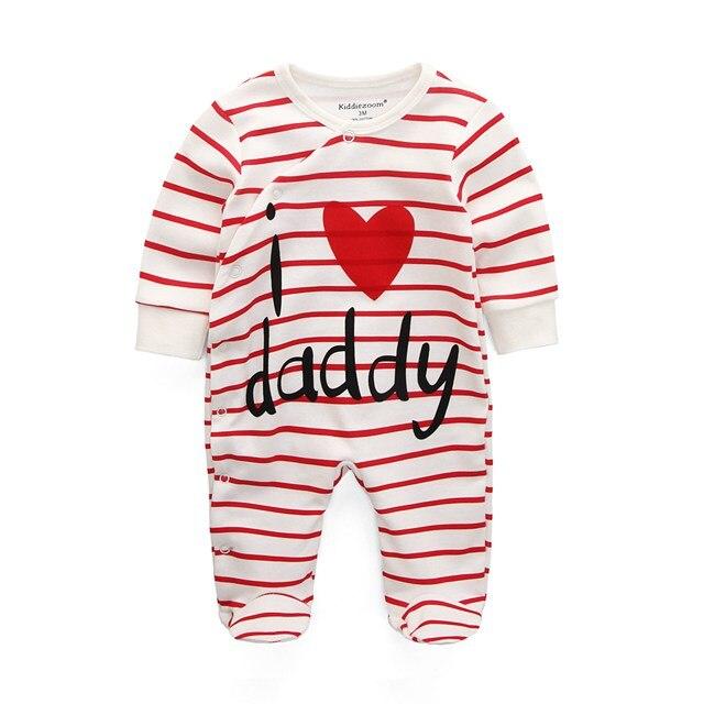 Для маленьких девочек сна; одежда для сна с мультяшным рисунком для малышей Детские пижамы хлопок Длинные рукава Детские пижамы с надписью «i love daddy» детские комбинезоны с рисунками - Цвет: i love daddy