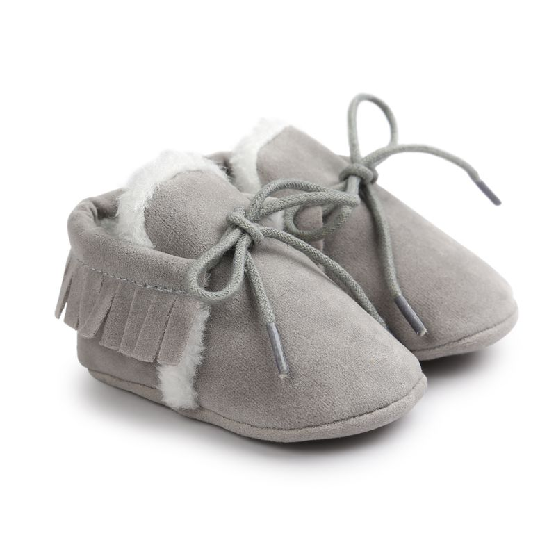 Baby Girl Shoes Winter Keep Warm PU Suede Solid Fur Newborn Baby First Walkers Shoes Boots Infant Moccasins Soft Moccs Shoes