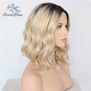 Image 3 - BeautyTown Short Ombre Blonde Heat Resistant Hand Tied Blogger Daily Makeup Synthetic Lace Front Wedding Halloween Party Wig