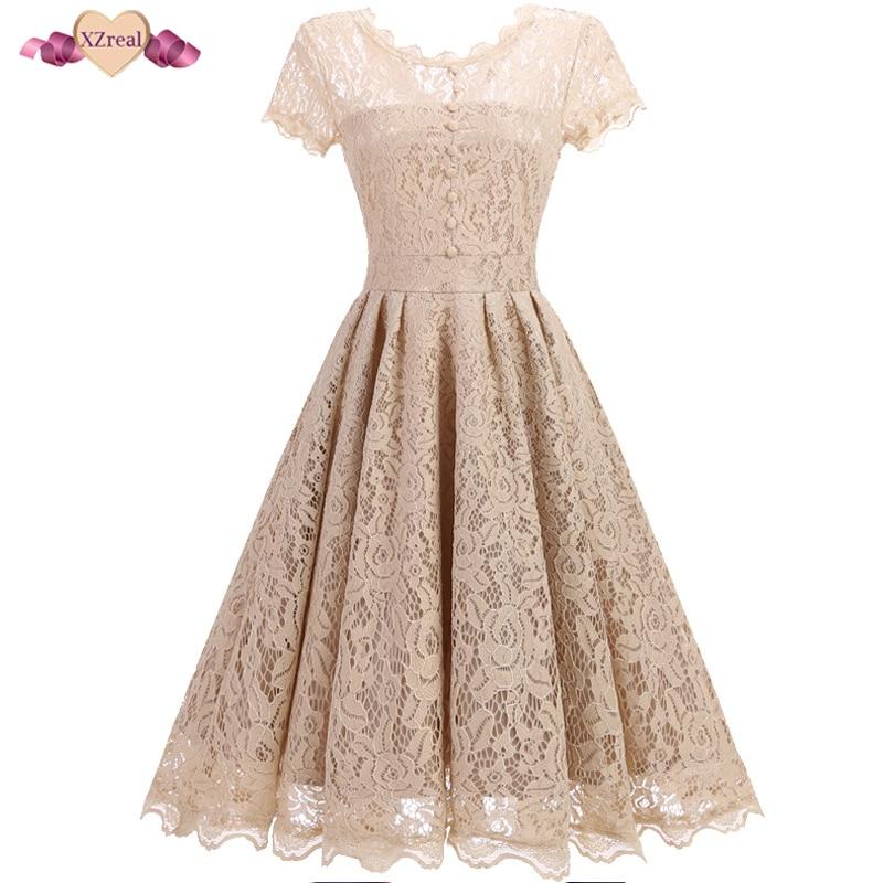 XZreal Retro Rockabilly Vintage Dress Lace Women Summer Short Sleeve Party Dresses Female Clothes V Backless Tunic Dress Z4D1