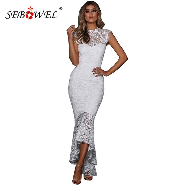 fb88a36e52d SEBOWEL Elegant White Flower Lace Embroidered Maxi Long Dress Evening Gown  Women Sleeveless Bodycon Lace Party