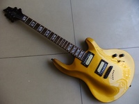 Free Shipping New Chinese Electric Guitar Carved Body Mahogany Abalone Inlay In Gold Golden 110921