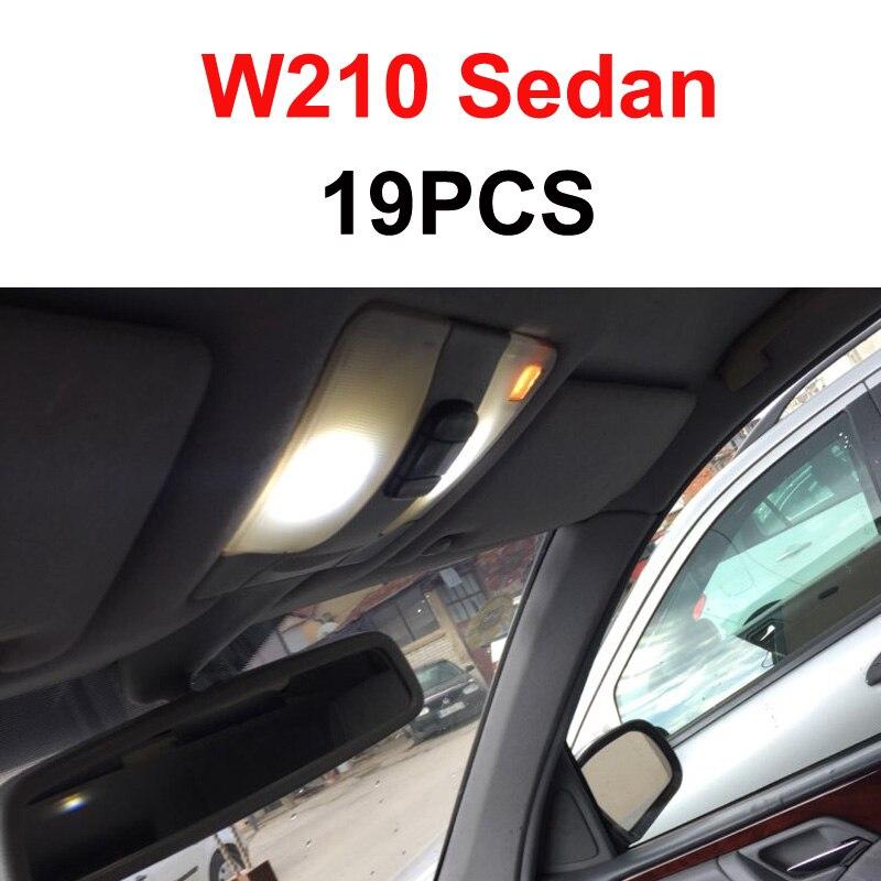 Белый светодиодный светильник без ошибок, Внутренняя купольная карта, комплект для Mercedes Benz E class W210 W211 W212 S210 S211 S212(1995 - Испускаемый цвет: W210 Sedan - 19PCS