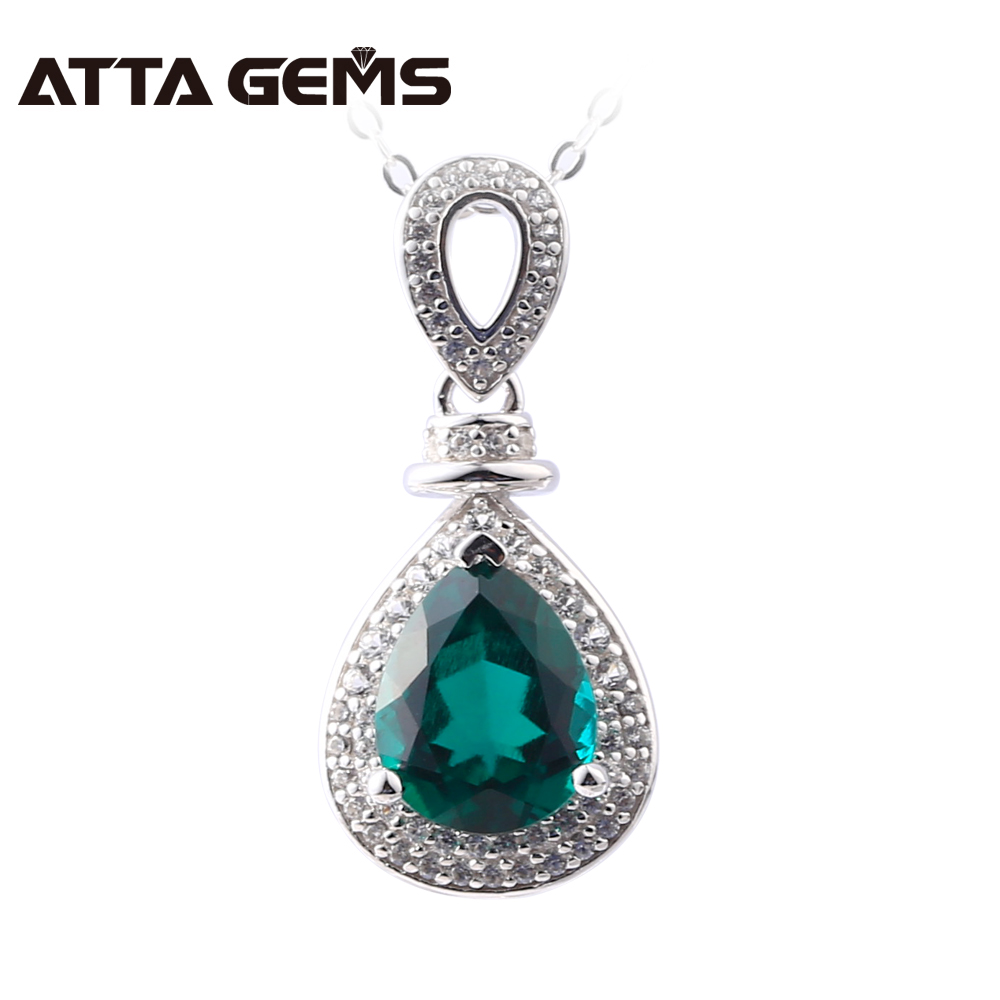 Green Emerald Sterling Silver Pendants Pears 2.8 Carats Created Emerald S925 Pendants For Women Grandmathers GiftsGreen Emerald Sterling Silver Pendants Pears 2.8 Carats Created Emerald S925 Pendants For Women Grandmathers Gifts