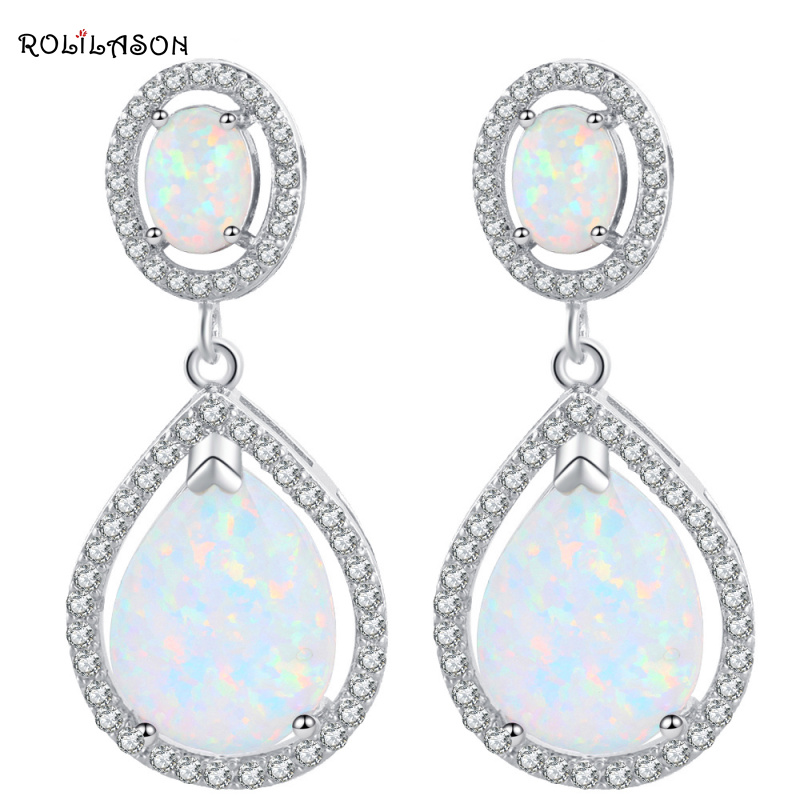 Delicate gifts for friends Wholesale & Retail White Fire Opal Silver Stamped Drop Earrings Fashion Jewelry OE279 pair of delicate graceful solid color opal embellished waterdrop shape earrings for women