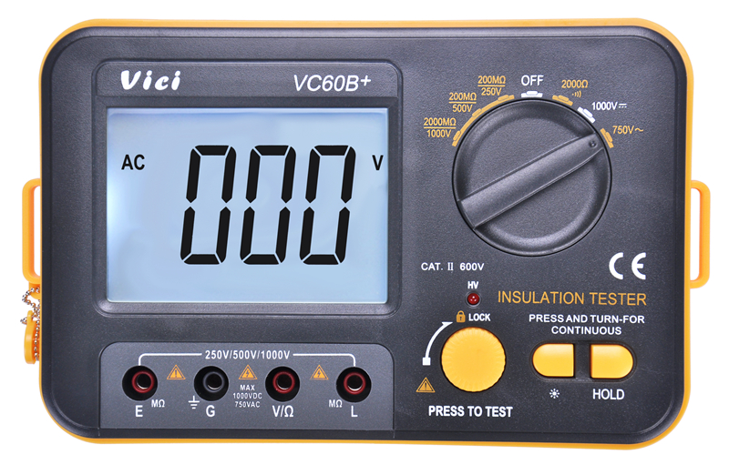 VC60B+ Digital Insulation Resistance Tester VICI Megger MegOhm Meter 250V 500V 1000V High Voltage And Short Circuit Input Alarm digital megger insulation resistance tester sound and light alarm mastech ms5201