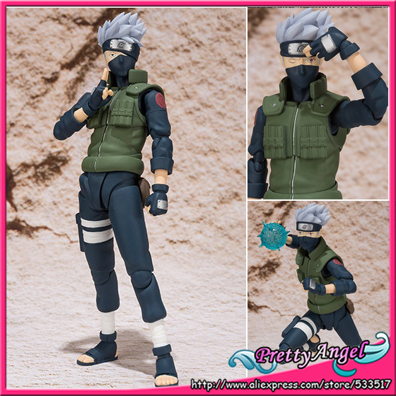 PrettyAngel - Genuine Bandai Tamashii Nations S.H.Figuarts Naruto Shippuden Hatake Kakashi Action Figure naruto action figure hatake kakashi flash power rock scene diy set naruto shippuden hatake kakashi model toy kakashi diy180