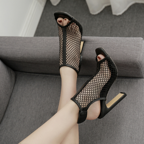 Liren 2019 Summer Sexy PU Gladiator Openwork Style High Square Heel Women Sandals Sexy Black Grid Sandals Open Toe Size 35 40 in High Heels from Shoes