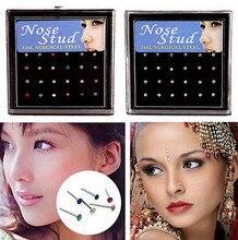 Anneau de nez en acier inoxydable, 24 pièces/paquet, Piercing de nez en cristal pour femmes, bijoux cadeaux