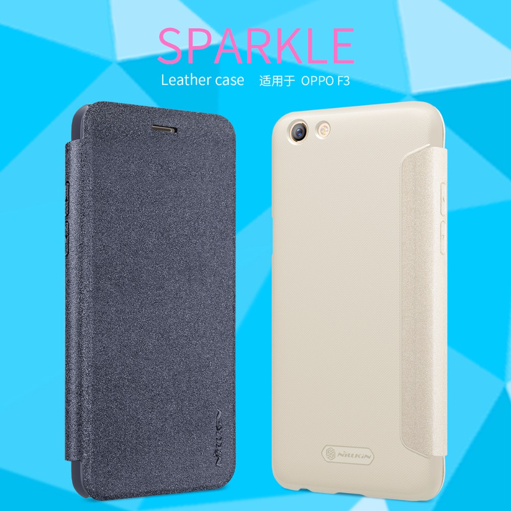 OPPO F3 Cover Case NILLKIN Sparkle super thin flip cover OPPO F3 PU leather case with Retailed Package