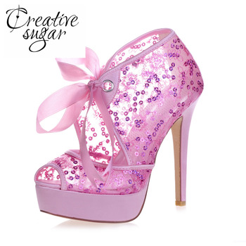 Creativesar platform high heel see through mesh lace sequins peep toe summer boots party prom pumps bling sky blue red gold pink