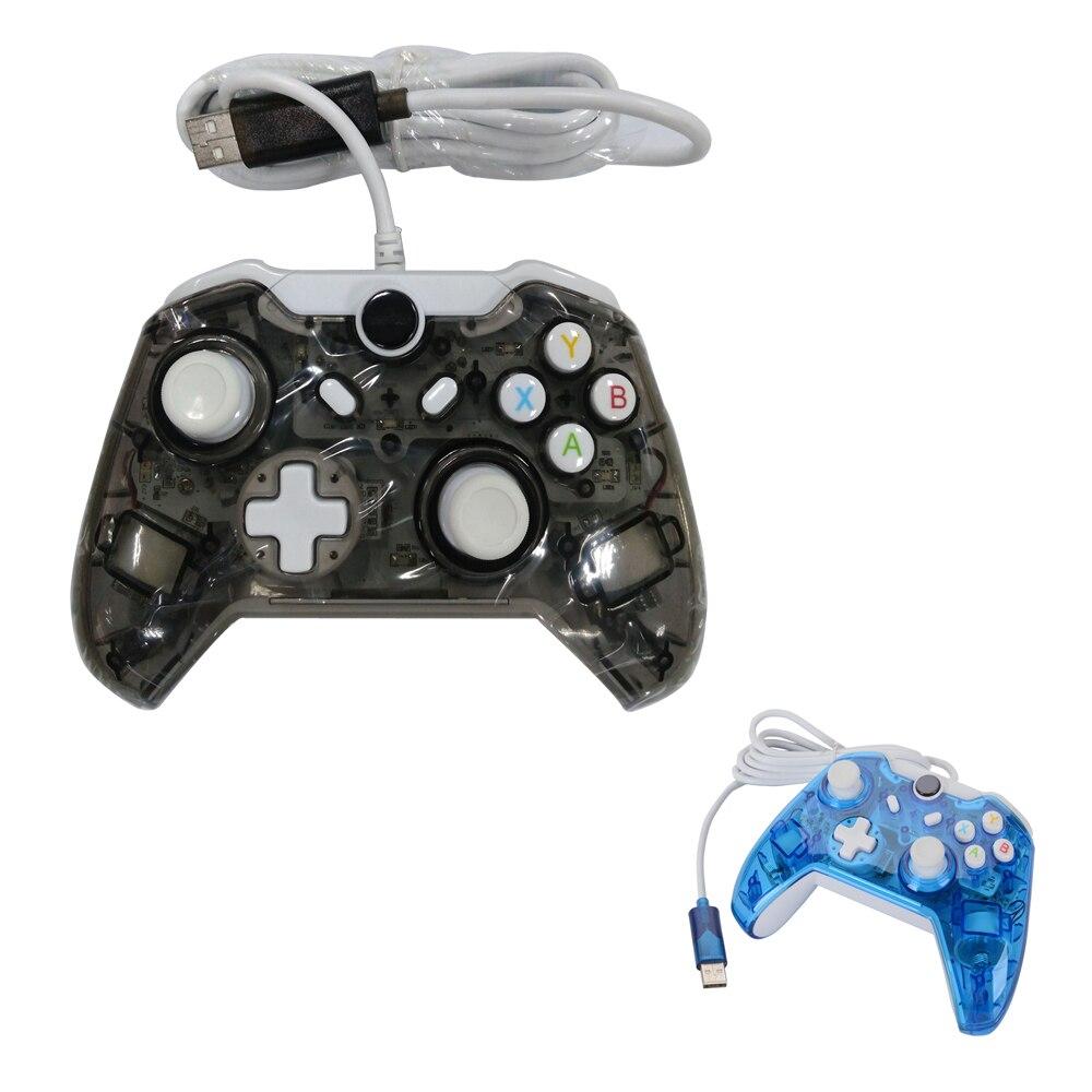 2 pièces usb de haute qualité manette de jeu filaire avec led lumière clignotante Pour Xbox Un