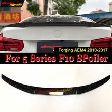 wing Rear spoiler For BMW F10 5 Series 520i 525i 530i 535d 535i 550i Forging Carbon Fiber AEM4 Style Trunk Spoiler Wing 2010-17