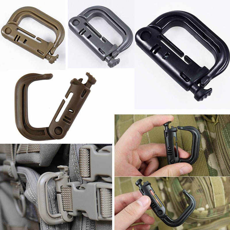 Molle Tactical Backpack EDC Shackle Carabiner Snap D-Ring Clip KeyRing Locking Wholesale