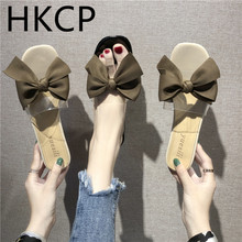 HKCP Fashion New 2019 new slippers female summer fashion wear bow flat beach drag lady word slipper slip C346