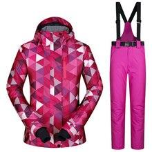 Kombinezon narciarski Kobiet Wiatroszczelna Wodoodporna Snowboard Kurtka I Spodnie Zagęścić Ubrania Dla Kobiet Marki Płaszcz I Spodnie Zimowe Nosić