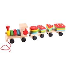 Одежда для малышей деревянный укладки поезд Блок игрушка весело автомобиля блок Настольная игра игрушки деревянные развивающие игрушки для Детский подарок