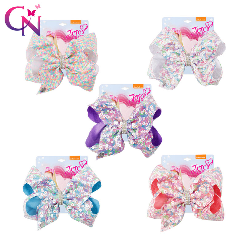 5 Colors 10 Pc 7 Large Sequin JoJo Bow With Hair Clip For Girl Kid Bling