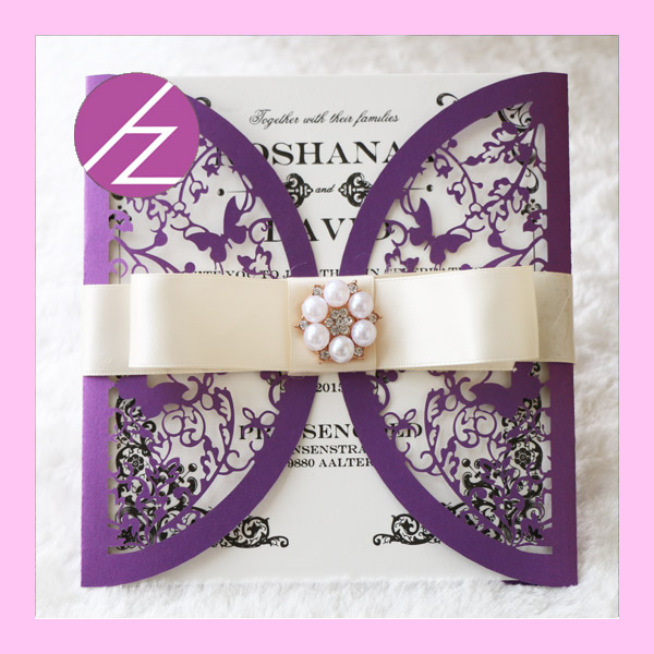 50pcs Lot 2017 New Style Butterfly Design With Heart Invitation Card
