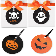evil Pumpkin naughty ghost 100 pcs halloween paper labels candy packaging decoration tags for To trick or treat sweet decor