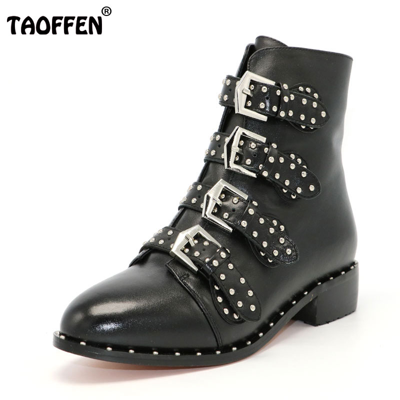 TAOFFEN Genuine leather Motorcycle boots Biker Shoes Women Suede Pointed Snow Boots Brand Shoe Famous Designer Woman Flats Punk taoffen genuine leather motorcycle boots biker shoes women suede pointed snow boots brand shoe famous designer woman flats punk