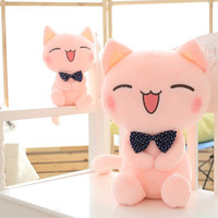 17 45cm Big Size New Arrived Cat Plush Toy Pink Cat With Bow Tie Cute Kitty Soft Stuffed Toy High Quality Factory Supply 1 pc