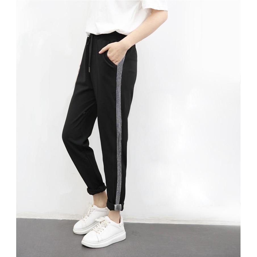 Sport Sweatpants Casual Harem Pants Long Women Trousers Silver Side Sweat Female Run Striped Elastic Waist Hip Pop Slim Pant