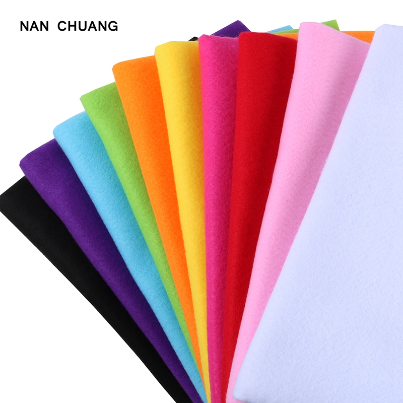 Nanchuang 2mm Soft Felt Fabric Polyester Nonwoven Cloth For DIY Sewing Crafts Dolls Home Decoration Handmade Material 45x45cm