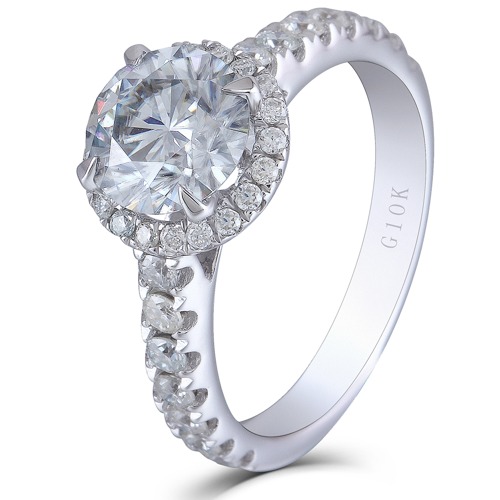 Transgems 10K white Gold 2.13CTW Center 7.5mm 2.7mm Band Wide Moissanite Halo Engagement Ring Soliatre with Accents for Women