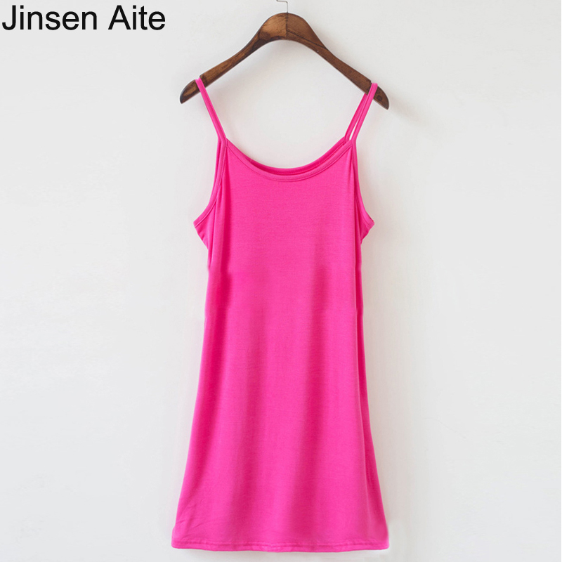 Jinsen Aite Plus Size XL-6XL New Summer Women Bodycon Dress Spaghetti Strap Loose Casual Modal Women's Clothing Vestidos JS444