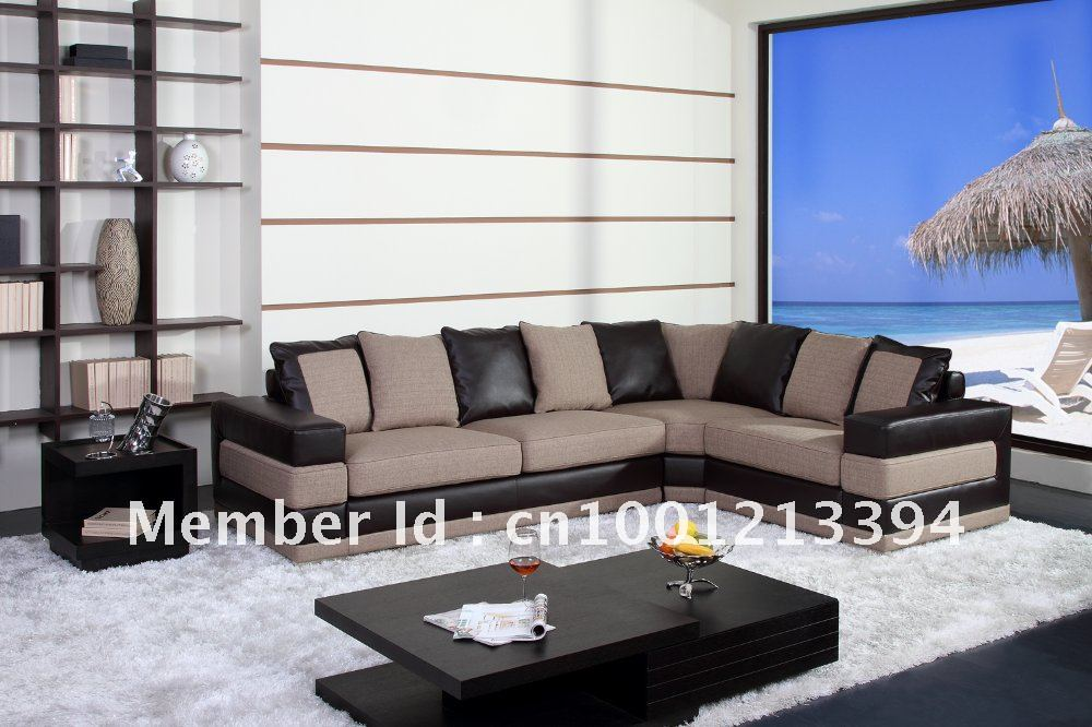 Modern Furniture / Living Room Fabric/ Bond Leather Sofa/ Sectional / Corner  Sofa ... Part 29