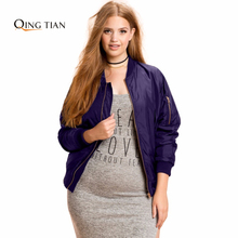 QING TIAN Plus Size New Fashion Women Clothing Casual Solid Zipper Jacket Coat Long Sleeve Big Size Basic Jacket 3XL 4XL 5XL 6XL