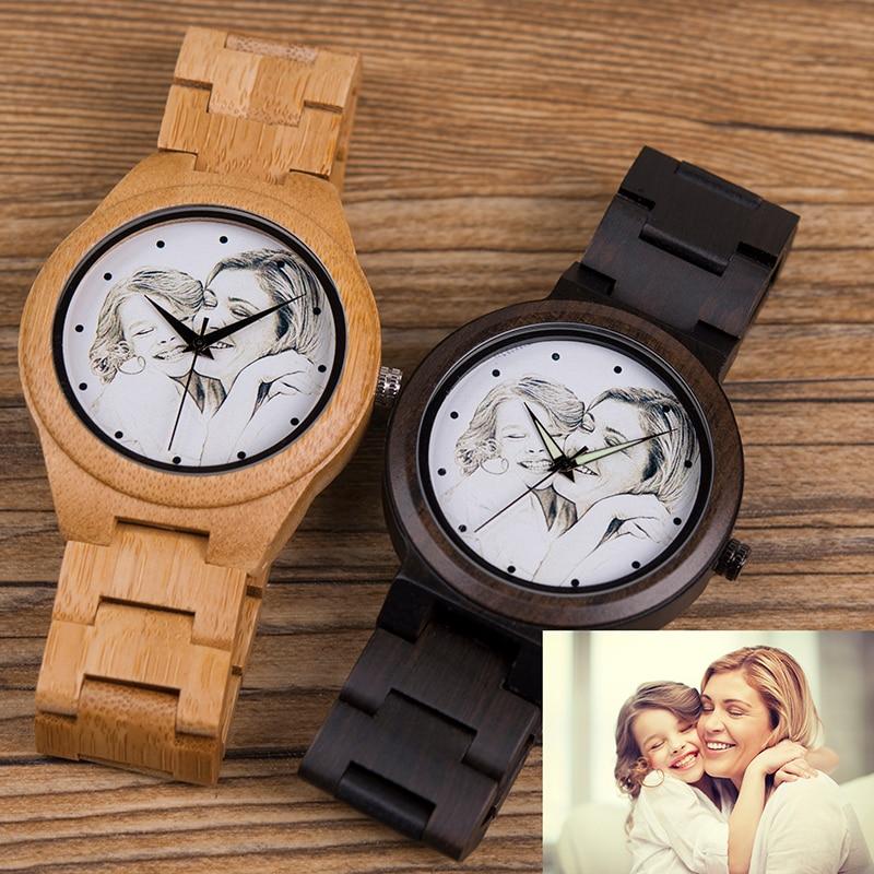 Personalized Photo Print Customization Gift Wooden Watch 31